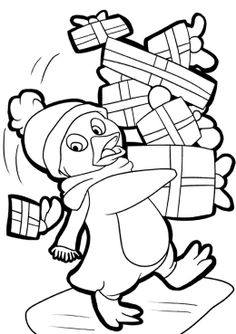 penguin many presents on christmas coloring page
