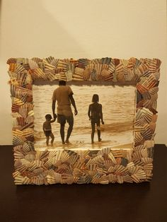 Handmade shell picture frame. $22.50 Visit my Etsy account: NQsCrafts