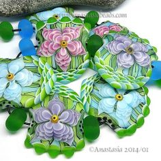 Anastasia Lampwork Beads 'Spring Flowers'  x7 SRA eBay*~<3<3<3STUNNING<3<3<3~*