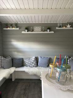 Gartenhaus Ideen Inneneinrichtung Strandhaus grau weiß