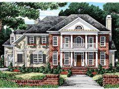 Delightful Double-Decker Porch (HWBDO09045) | Greek Revival House Plan from BuilderHousePlans.com