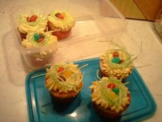 Easter cupcakes with edible Easter grass.