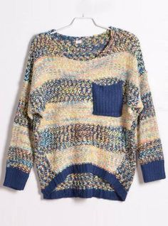 Colourful Striped Round Neck Sweater Blue$40.00