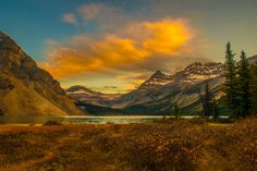 Bow glacier at sunset by markbowenfineart canada landscape lake sunset blue fall gold nikon mountain alberta bow glacier Bow glacier at su Canada Landscape, Sunset Landscape, Landscape Photos, Landscape Photography, Travel Photography, Canadian Rockies, Photos Of The Week, Rocky Mountains, Tourism