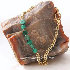 Gemstone Bar Stacking Bracelet, Malachite by P. Quinn of My Found Objects #gemstonebracelets #minimalistbracelets #handcraftedjewelry #handmadejewelry #myfoundobjects