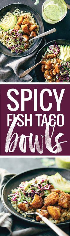 Spicy Fish Taco Bowls with cilantro lime slaw - crispy, fresh, and SO yummy! quinoa, slaw, avocado, and crispy fish! | pinchofyum.com