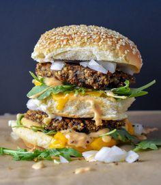 "Vegan ""Big Mac"" w/ Dairy-Free Special Sauce + Black Bean Millet Mushroom Burgers #plantbased #veganrecipes #vegan #veganfood #burger #veggieburger #vegetarian #vegetarianrecipes"
