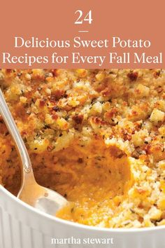 These are the best sweet potato recipes that are hearty, family-friendly side dishes, main meals, and desserts. All of these sweet potato recipes are all packed with delicious fall flavor and healthy ingredients. #marthastewart #recipes #recipeideas #christmasrecipes #christmaspotluck #christmasfood