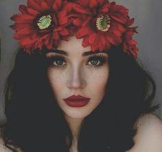 Imagem de girl, flowers, and red