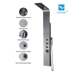Vantory VS272 55'' Stainless Steel Rainfall Shower Tower Panel