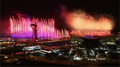 Fireworks are set off around the Olympic Stadium
