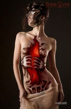 body ripped open body painting amazing avant grade special fx gory makeup