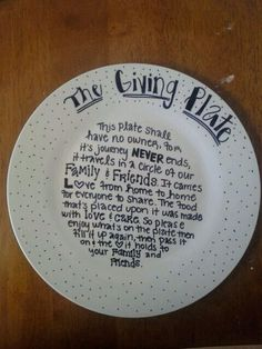 Just had to share this adorable idea! Should make a few to use whenever you're bringing food to a dinnerparty! And the plate can circulate around in your extended family! Found here