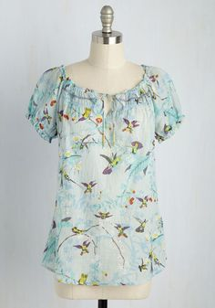 This light blue top bestows feelings of pastoral tranquility, even long after youre done snapping pics in the countryside! Vintage Shorts, Vintage Outfits, Indie Outfits, Fashion Outfits, Stitch Fix Outfits, Casual Tops For Women, Blouses For Women, Floral Tops, Blouse Styles