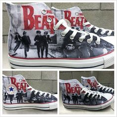 The Beatles Custom Converse All Stars by ArkhamPrints on Etsy Converse All Star, Cool Converse, Custom Converse, Custom Shoes, Converse Shoes, Converse Chuck Taylor, Ankle Boots, Shoe Boots, Jouer Au Basket