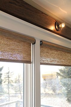 living room additions — Montana Prairie Tales : Roller shades by Hunter Douglas Living Room Decor Curtains, Living Room Windows, Sunroom Curtains, Living Room Blinds, Hunter Douglas, French Country Living Room, Patio Doors, Patio Door Blinds, Sliding Door Curtains
