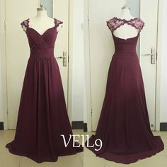 Burgundy Lace Prom Dresses Cap Sleeve Chiffon Bridesmaid by VEIL9
