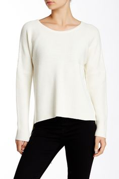 Wool Blend Pullover by Helmut Lang on @HauteLook/my mom made me one with a turtleneck. I styled it by cuffing sleeves and cinching waist with skinny natural tan leather belt.