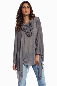 cbcc7bd1bb Charcoal, cowl neck poncho Silver Boots, Black Skinnies, Fall Fashions,  Cowl Neck