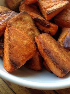British-Style Roasties: Sweet Potato Version  Bring on the rich, sweet, caramelized yams. It's Thanksgiving season!