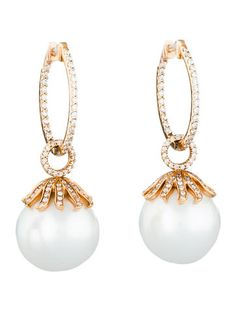 1ctw Diamond & South Sea Pearl Earrings