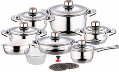 Swiss Inox Si-7000 18-Piece Stainless Steel Cookware Set, Includes Induction Compatible Fry Pots, Pans, Saucepan, Casserole ** To view further for this item, visit the image link.