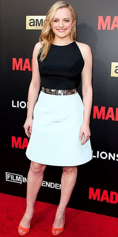 Last Night's Look: Love It or Leave It? | ELISABETH MOSS | in a black-and-blue halter Romona Keveza cocktail dress with a mosaic metal belt, which she accessorized with coral peep-toe pumps at the Mad Men Live Read and Series Finale event in L.A.