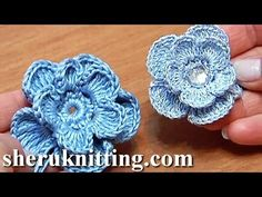 Crochet 3D Center Flower Tutorial 7 Blume mit leichtem 3D-Effekt häkeln - YouTube