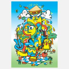Doodle Picnic Art Print now featured on Fab.