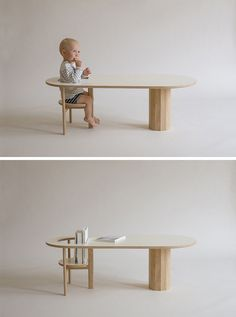 This coffee table is designed to hold books and babies