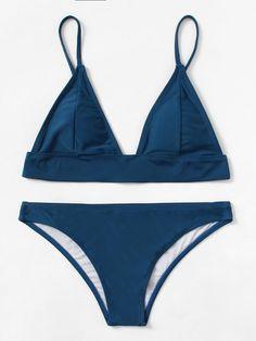 0d72d95de20 Solid Triangle Bikini Set -SheIn(Sheinside) Ropa Interior Boxers