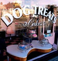 Our Dog Treat window. Gourmet dog treats for your furry babes! Http://www.bowwowbeautyshoppe.com #pet grooming, #dog grooming, #pet boutique