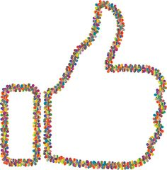Prismatic Floral Thumbs Up Outline 3 by @GDJ, Prismatic Floral Thumbs Up Outline 3, on @openclipart