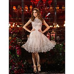 thuiskomst ts couture cocktail party / prom jurk grote maten schede / column juweel knielange kant – EUR € 61.73