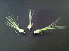 size 12 hook  Materials: Bead chain for eyes (I stole my from a light fixture), marabou, and green tread. Instructions: Tie on thread…Add eyes…Tie marabou to the back of the fly…Twist marabou into string…Wrap forward…Whip Finish.