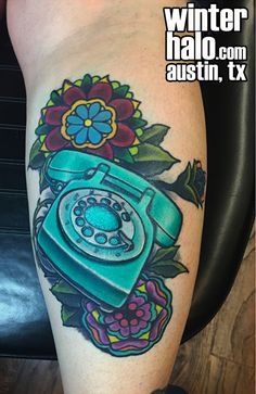 Telephone and traditional geometric flowers  Tattoo by Chris Hedlund watercolor  tattoo tattoos best artist art illustration illustrator realistic realism drawing painting colorful austin tx texas georgetown pflugerville round rock taylor san antonio san marcos Best Artist, Artist Art, Geometric Flower, Round Rock, Austin Tx, Traditional Tattoo, Flower Tattoos, Telephone, Tattoo Inspiration