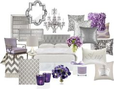 """Lavender and Grey Bedroom"" by chloeg01 on Polyvore:"