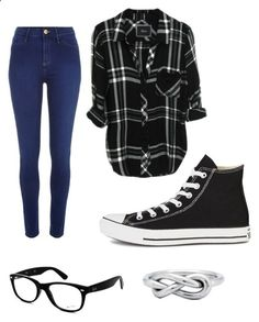 Flannel Obsessed by porkchopnmyface ❤ liked on Polyvore featuring River Island, Converse and Ray-Ban