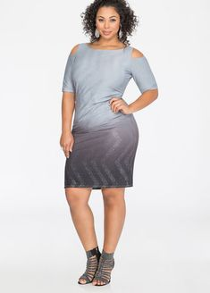 Cold Shoulder Metallic Ombre Dress Cold Shoulder Metallic Ombre Dress