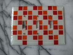 Mid-Century Checkered Glass Switch Plate.