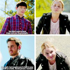 """""""He's right. Just imagine you're back in your old life as bails... bonds person.. woman?"""" - Killian, Henry and Emma #OnceUponATime"""