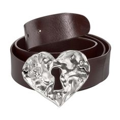 Brown leather belt with textured silver-plated metal heart buckle with lock in centre. Characteristic of handmade in Spain. San Valentin Ideas, 50th Birthday Gifts, Brown Leather Belt, Headbands, Heart Ring, Jewelry Accessories, Jewels, Metal, Rings
