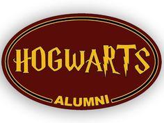 OVAL Hogwarts Alumni Bumper Sticker - http://geekarmory.com/hogwarts-alumni-bumper-sticker/