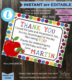 "Hungry Caterpillar Thank You card Very Hungry Caterpillar Gift Birthday Party Thanks Custom Personalize Digital INSTANT Self EDITABLE 4x5.5"" by MaMiInspired on Etsy"