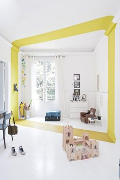 How to add a touch of yellow paint to a kids room. We promised you brilliant and unusual paint ideas and this is probably the most dramatic of them all. This looks so cool and actually makes the room feel bigger too