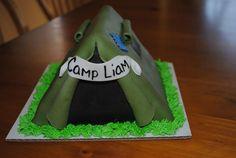 Boy camping tent birthday cake