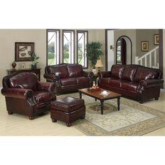 Park Lane 4-piece Burgundy Leather Living Room Set