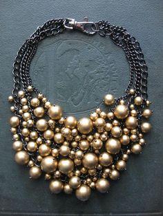 Statement Bib Necklace -  Golden Vintage Pearls on Black Hematite - Holiday Formal Glam