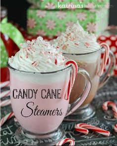 Candy Cane Steamers!  What You Need:  - 2 Tablespoons Peppermint Syrup - 1 C (8oz) milk, chocolate or white - Whipped cream - Crushed candy cane pieces for garnish  How To Male:  - Heat milk in the microwave for 60 seconds, stir. Return to the microwave for 15 seconds if necessary.  - Add 2 Tablespoons of Peppermint Syrup.  - Using a handheld milk frother, froth warm milk for 10-15 seconds (optional).  - Top with whipped cream and crushed candy canes.