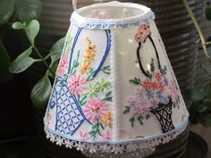 Just things that I do, lampshade I covered in vintage linens